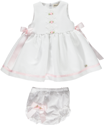 Piccola Speranza White Dress With Bows And Jam Pants